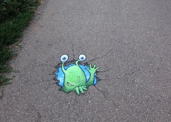 Милые 3d рисунки мелом на улицах города